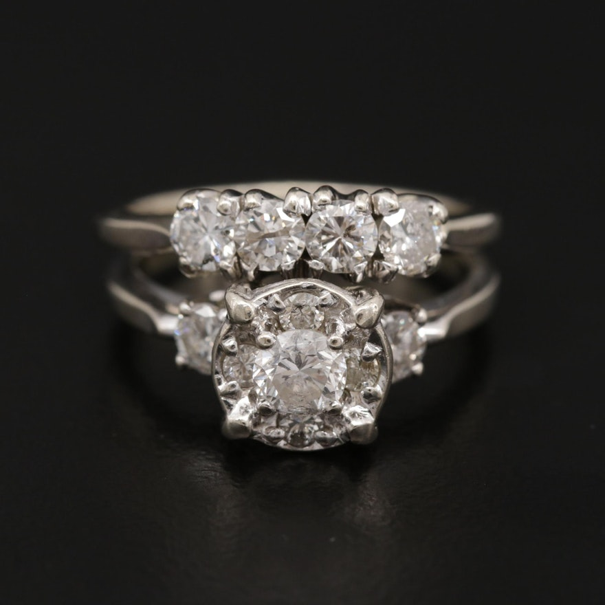 Vintage 14K White Gold 1.43 CTW Diamond Ring