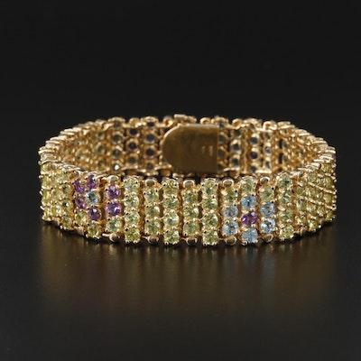 14K Yellow Gold Peridot, Topaz and Amethyst Floral Motif Bracelet