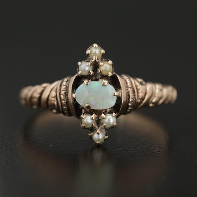 Victorian 9K Yellow Gold Opal and Pearl Ring