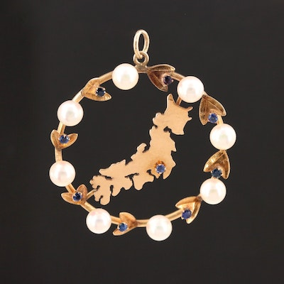 Vintage 14K Yellow Gold Cultured Pearl and Sapphire Wreath Pendant