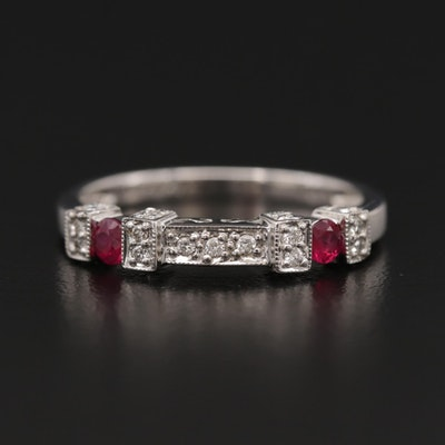 14K White Gold Diamond and Ruby Band