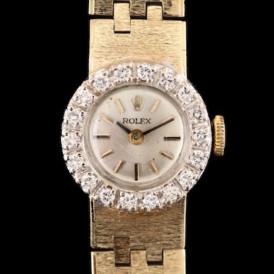 Vintage Rolex Verma 14K Yellow Gold Diamond Stem Wind Wristwatch
