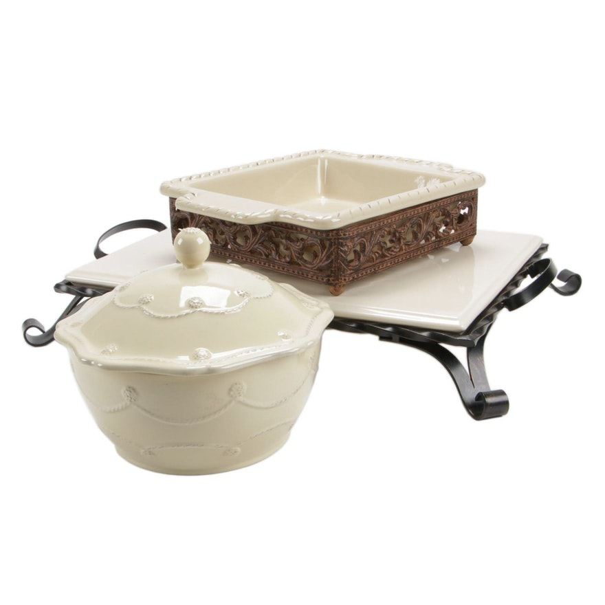 Southern Living at Home Footed Trivet with Baker and Lidded Bowl
