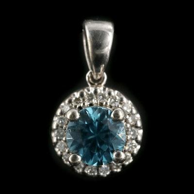 14K White Gold Blue Zircon and Diamond Pendant
