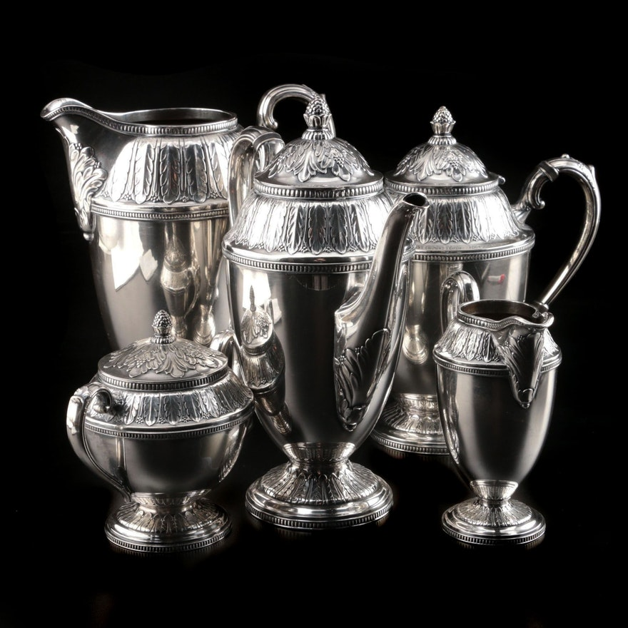 "Rogers Bros. ""Marquise"" Five Piece Silver Plate Tea and Coffee Service"
