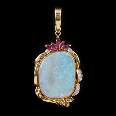 14K Yellow Gold Opal, Ruby and Diamond Enhancer Pendant