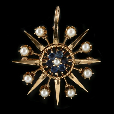 Vintage 14K Yellow Gold Sapphire and Cultured Pearl Sunburst Converter Brooch
