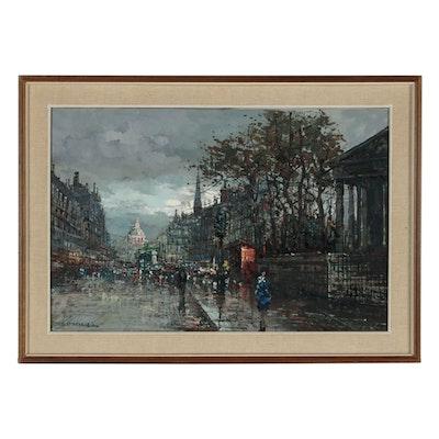 European Street Scene Oil Painting, Mid 20th Century