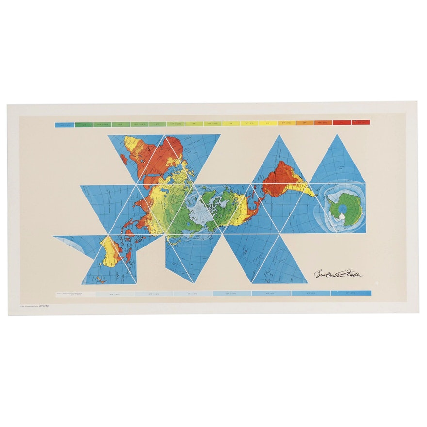 """Offset Lithograph after Buckminster Fuller """"Dymaxion Airocean World Map"""", 1979"""