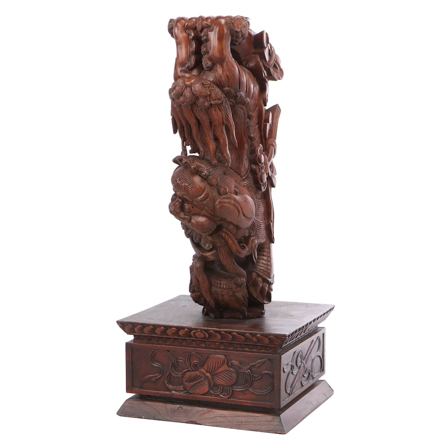 Chinese Guardian Lion Wooden Architectural Element