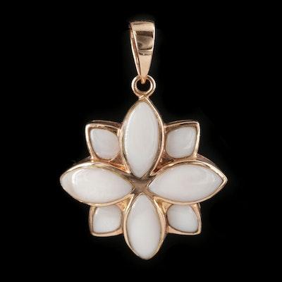 14K Rose Gold Mother of Pearl Lotus Motif Pendant