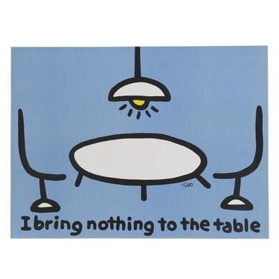 "Todd Goldman Lithograph ""I Bring Nothing to the Table"""