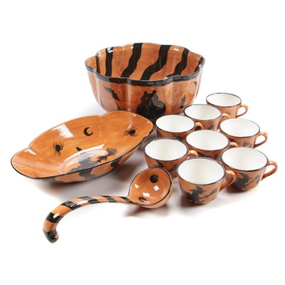 Laurie Gates Halloween Ceramic Punch Bowl Set and Serving Dish