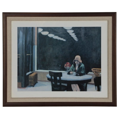 "Offset Lithograph after Edward Hopper ""Automat"""