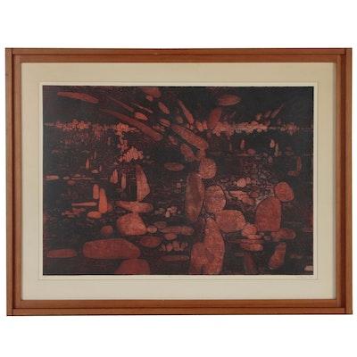 "Gabor Peterdi Soft Ground Relief Etching ""Burning Rocks"", 1959"