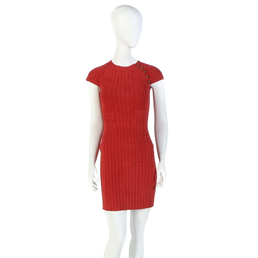Chanel Red Velour Knit Cap Sleeve Dress from the 2010 Paris-Shanghai Collection