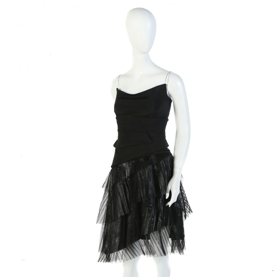 Danes Black Silk Corset Dress with Pleated Tiered Tulle Skirt