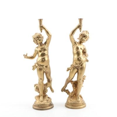 """Figural Spelter Statues """"Le Printemps"""" and L'ete"""" after Auguste Moreau"""