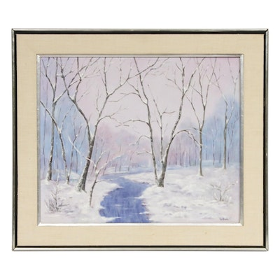 LaBuda Oil Painting of Winter Creek Landscape, Late 20th Century