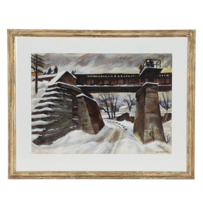 Carl Zimmerman Landscape Watercolor Painting