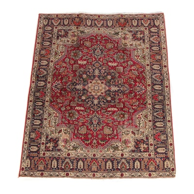 4'11 x 6'6 Hand-Knotted Persian Heriz Wool Rug