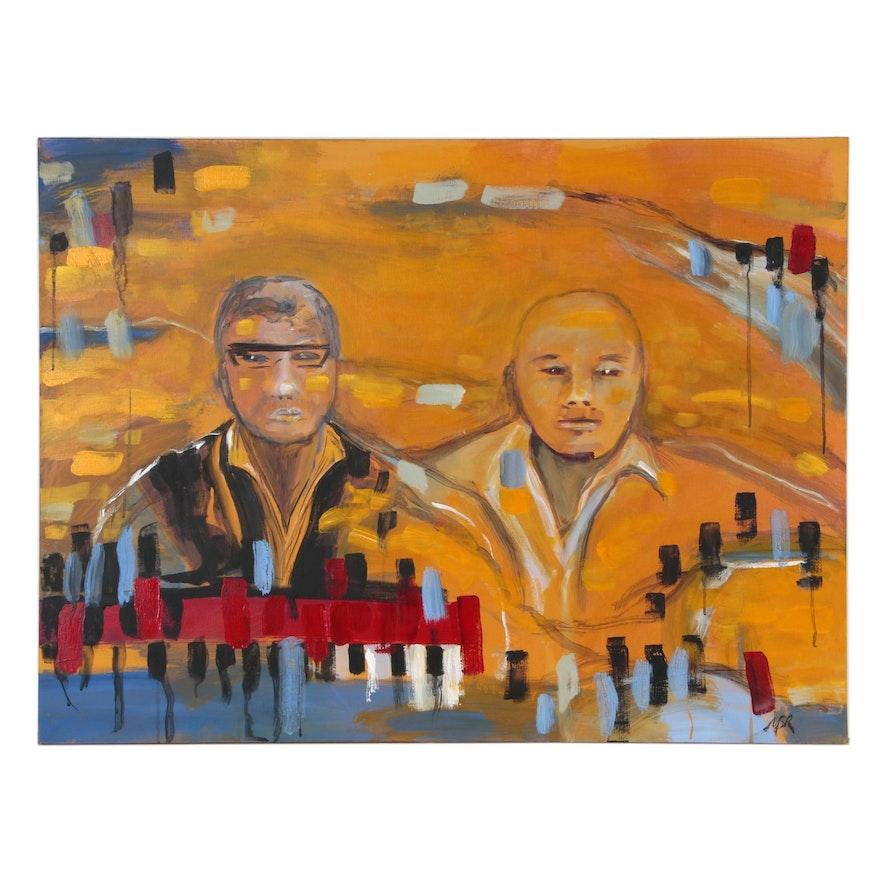 "Mary Barr Rhodes ""Twilight Jazz Cruise"" Acrylic Painting, 2009"