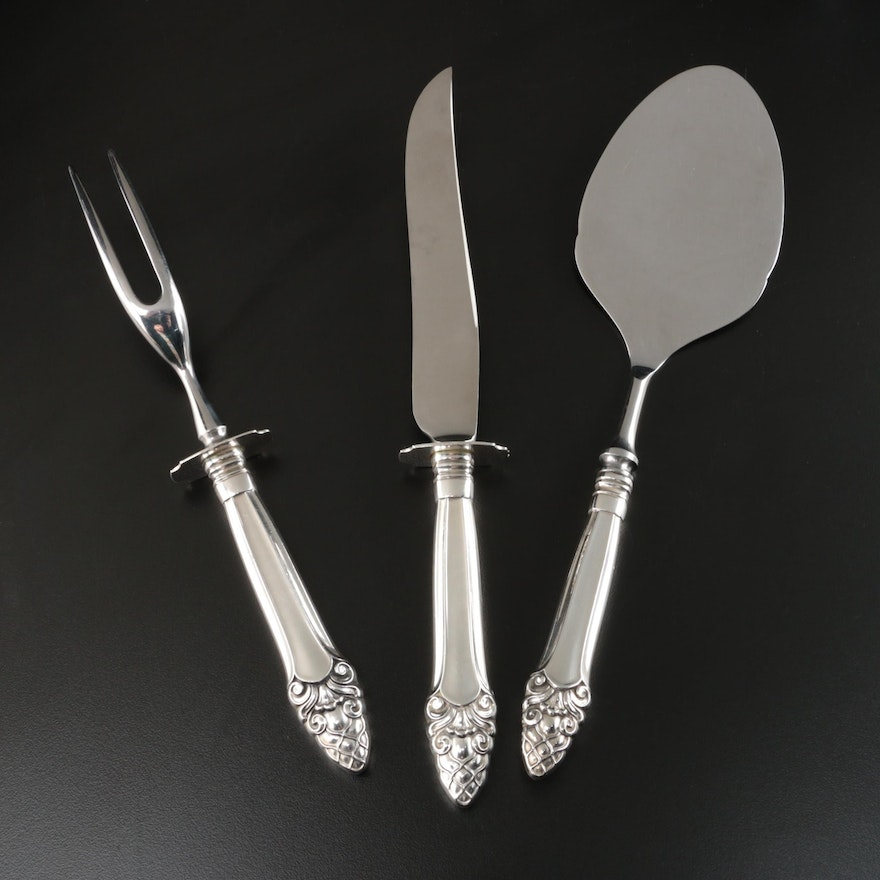 """Gorham """"Sovereign"""" Sterling Silver Handled Carving Set and Pastry Server"""