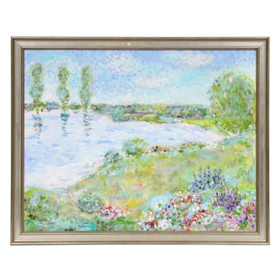 Impressionist Style Oil Painting of Pond Landscape, Late 20th Century