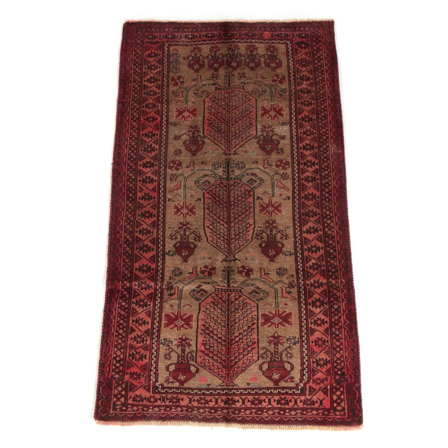 3'7 x 6'10 Hand-Knotted Persian Luri Wool Long Rug