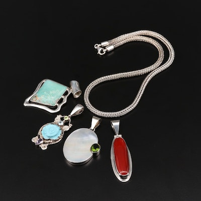 Sterling Pendants and Chain with Carnelian, Mother of Pearl, Turquoise and More