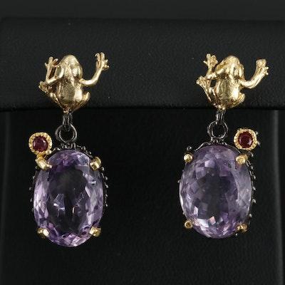 Sterling Silver Amethyst and Garnet Dangle Earrings With Frog Motif