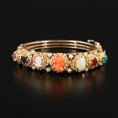 14K Coral Cameo, Opal and Multiple Gemstone Hinged Bracelet