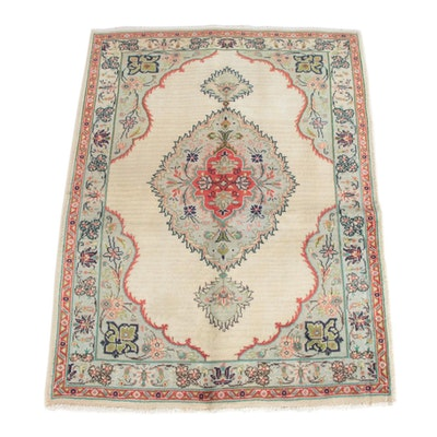 3'2 x 4'3 Hand-Knotted Persian Kerman Wool Rug