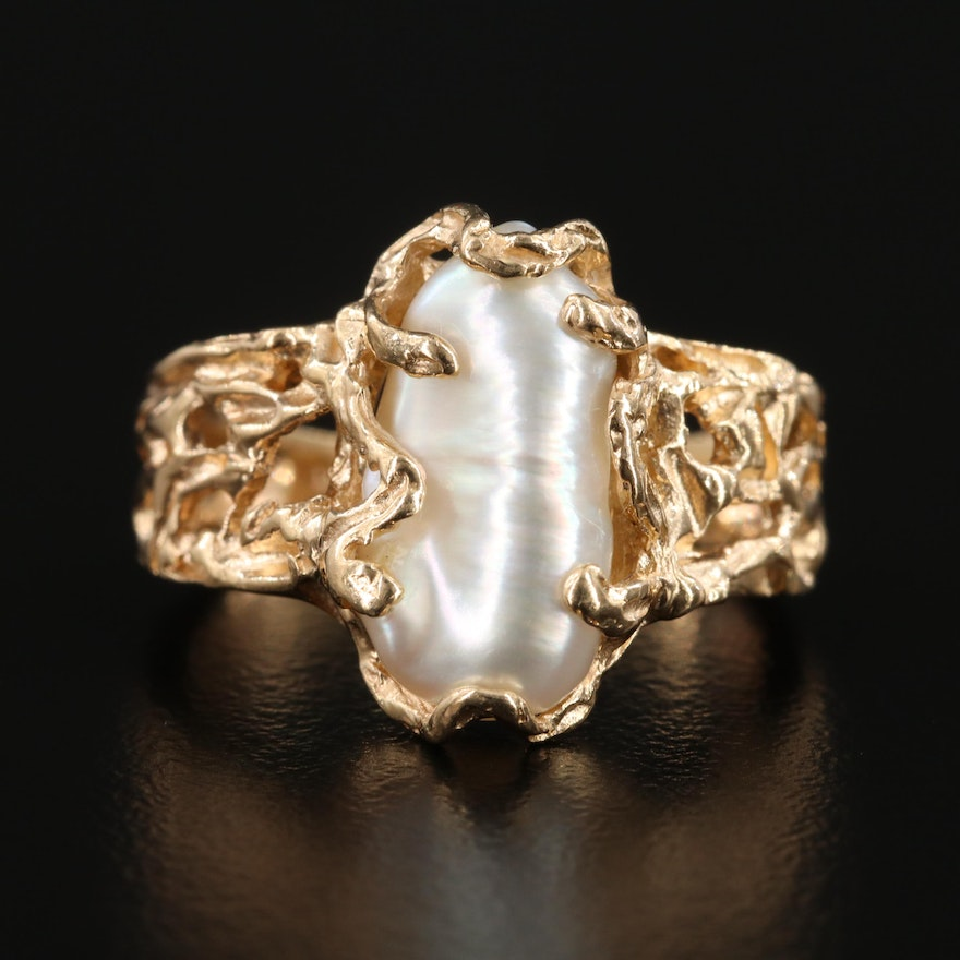 14K Yellow Gold Cultured Pearl Biomorphic Ring