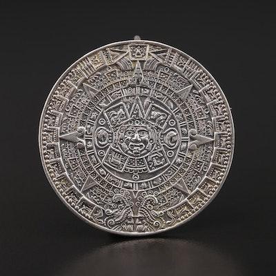 Taxco Sterling Silver Mesoamerican Calendar Converter Brooch