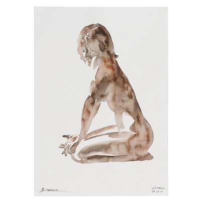 Anastasia Serdnova Watercolor Painting of Nude, 2019