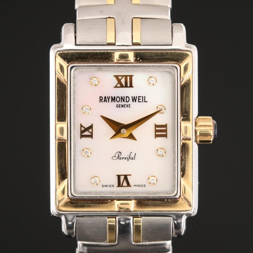 Raymond Weil Parsifal Diamond Dial Two Tone Stainless Steel Wristwatch