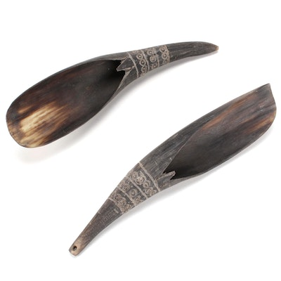 Sioux American Indian Buffalo Horn Spoon Utensils, 20th Century