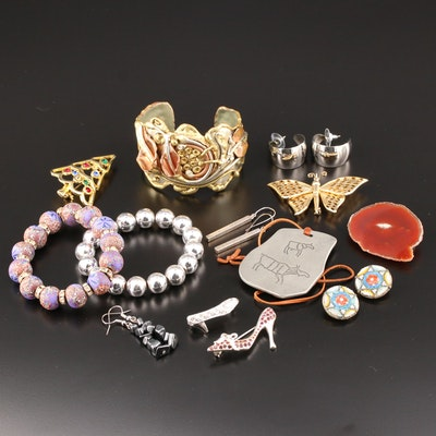 Assorted Jewelry Including Floral Cuff Bracelet and Articulated Butterfly Brooch
