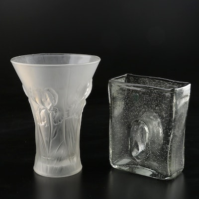 Chive Bliss Square Bubble Glass and Frosted Trumpet Vase, Contemporary