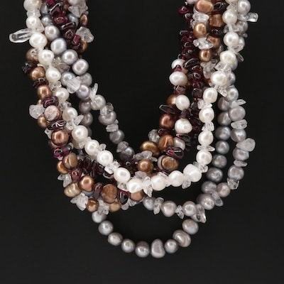Sterling Silver Garnet, Quartz and Cultured Pearl Necklace
