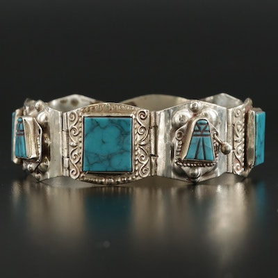 Mexican Taxco Sterling Silver Turquoise Panel Bracelet