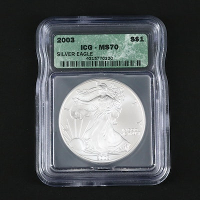 ICG Graded MS70 2003 One Dollar U.S. Silver Eagle