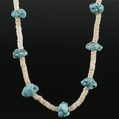 Southwestern Sterling Silver Magnesite and Shell Beaded Necklace