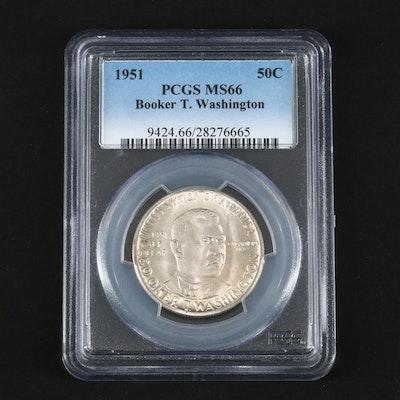 PCGS Graded MS65 1951 Booker T. Washington Commemorative Silver Half Dollar