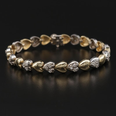 14K Yellow Gold Diamond Heart Link Bracelet