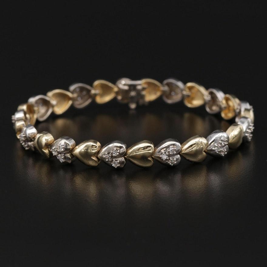 14K Yellow Gold Diamond Heart Link Bracelet