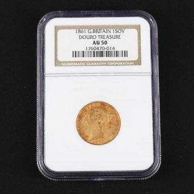 "NGC Graded AU50 ""Douro Treasure"" 1861 British Gold Sovereign"