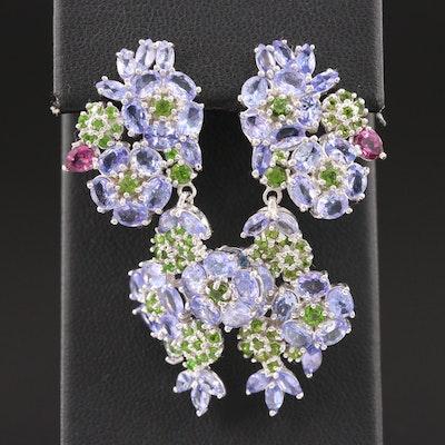 Sterling Silver Tanzanite, Diopside and Garnet Dangle Floral Earrings