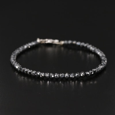 14K White Gold Diamond Bead Bracelet